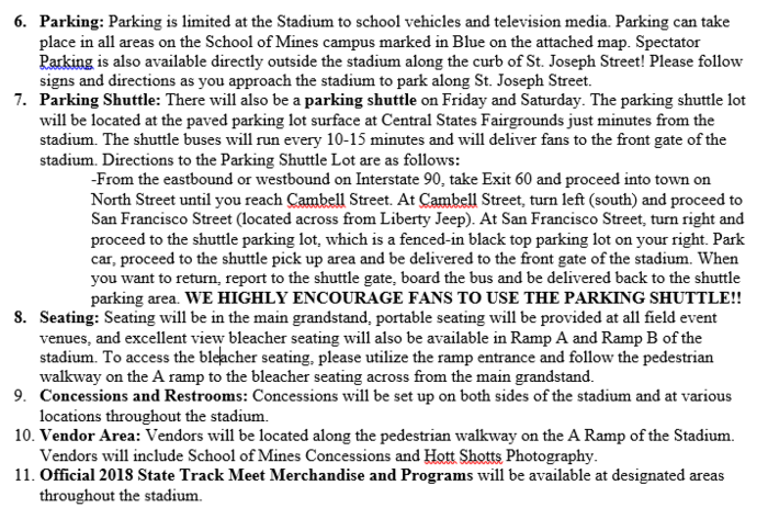 Information on parking/seating.