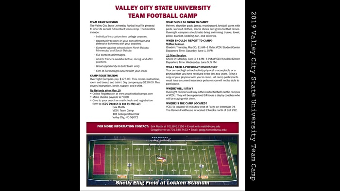 Football Team Camp Info