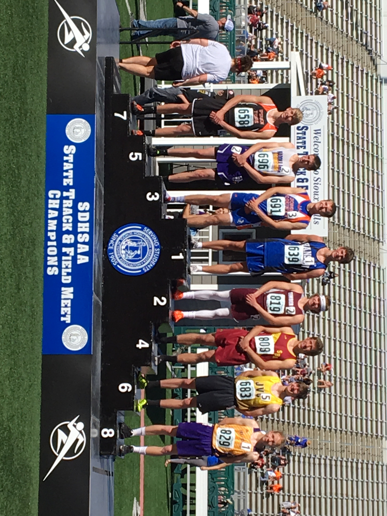Hunter Halvorson on the podium at SD State Track Meet.
